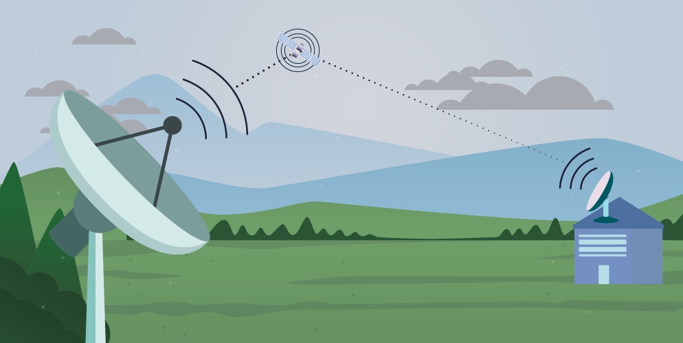 Representación sistema internet satelite en baleares